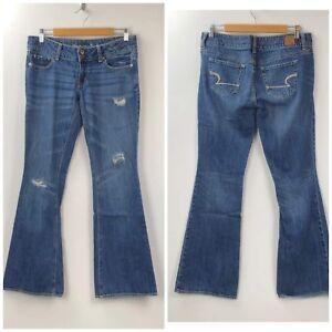 American-Eagle-6-Womens-Medium-Wash-Distressed-Artist-Bootcut-Denim-Jeans