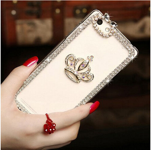 Luxury DIY Bling Crystal Clear Crown Diamond Phone Case Cover for iPhone 5S SE