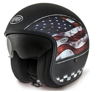 L 59//60 Premier Motorradhelm Jethelm Vintage Flag USA Flagge mattschwarz Gr