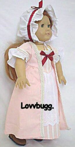 Colonial Roses Gown Dress Bonnet for Felicity American Girl 18 inch Doll Clothes