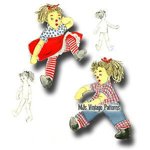 Vintage Cloth Rag Doll Pattern Clothes Ebay