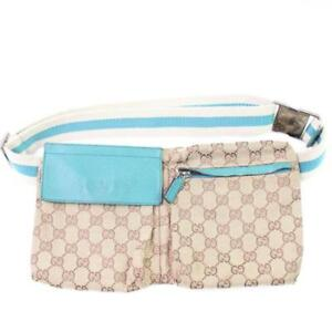 2ef15b73f5eb8 Gucci Torquoise Monogram GG Waist Pouch Fanny Pack Cross Body Bags ...
