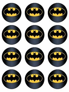 Image Is Loading 12 Batman Edible Icing Birthday Cupcake Topper