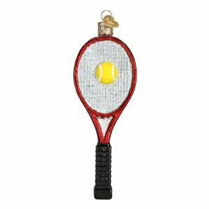 Old-World-Christmas-TENNIS-RACQUET-Red-44088-N-Glass-Ornament-w-OWC-Box