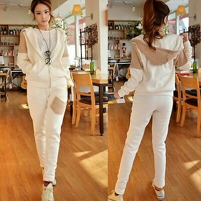 Women Casual Sport Tracksuit Outfits Zip Hooded Outwear Sweat Pants Trousers New