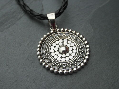 Balinese 925 Sterling Silver Handcrafted 24mm diameter mandala pendant with cord