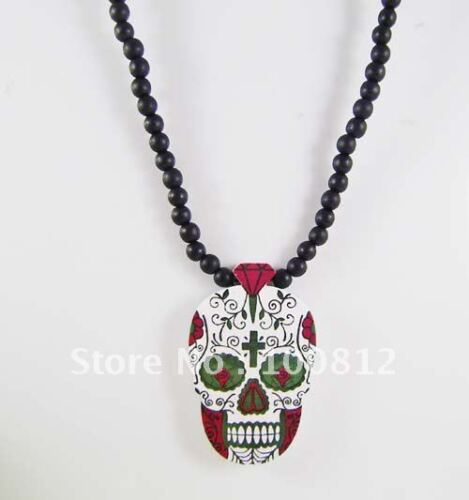 Valentines Day Of The Dead Wooden Skull Pendant Necklace Voodoo Queen Wood