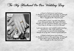 Image Is Loading A4 Poem To My Husband On Our Wedding
