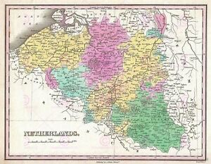 Map-Finley-1827-Belgium-Luxembourg-Old-Large-Canvas-Art-Print