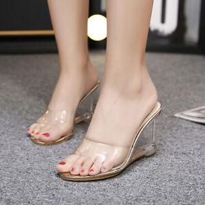 Summer-Open-Toe-Clear-Transparent-Sandal-Slipper-Women-039-s-Wedge-Heel-Shoes-Mules