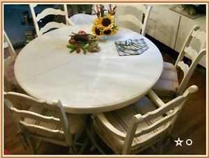 8 Pc White Washed Dining Set Ballard Designs Collection Rush Chair Seats D 53 Ebay