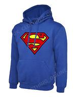 Mens Superman Hoodie Hooded Sweatshirt Pullover Sweat Hoody Jumper Sports Casual