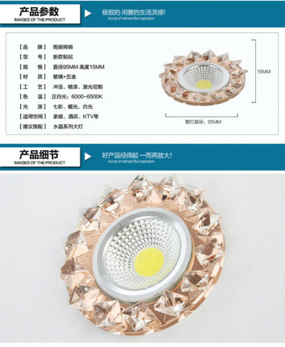 Crystal LED downlight 3W ceiling light colorful background wall corridor lamp