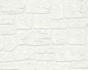 Image Is Loading AS Creation Brick Effect White Blown Vinyl Textured
