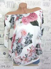 Chiffon Bluse Tunika Carmen Shirt Blumen off Shoulder 42 44 46 Weiß EF28