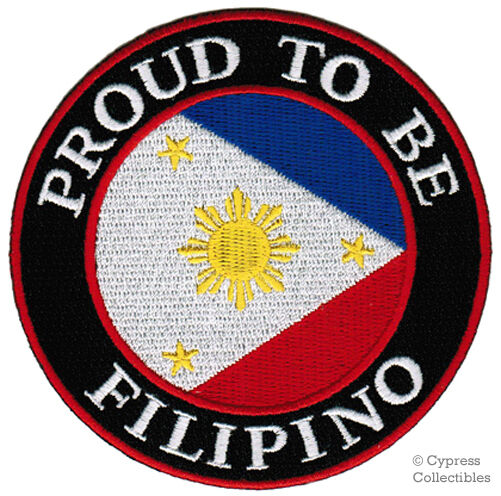 PROUD TO BE FILIPINO iron-on embroidered BIKER PATCH PHILIPPINES FLAG PINOY new