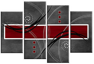 RED GREY CANVAS ABSTRACT PICTURE 4 PANEL SPLIT WALL ART PICTURE MULTI  100cm
