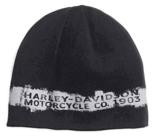 Harley-Davidson® Men/'s Reversible Textured Stripe Knit Beanie Hat