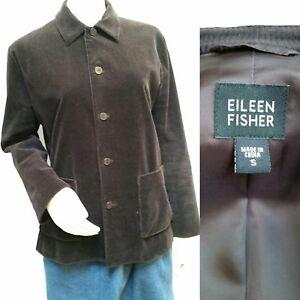 en velours Manteau brun Euc Eileen S Taille Fisher foncé côtelé q1xfEZwR