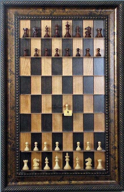 Hacia arriba tablero de ajedrez-Serie Cereza Negra con Marco De oro Negro