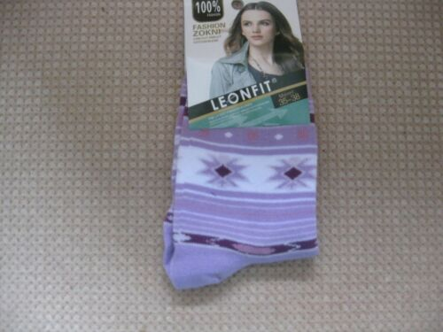 Ladies//Girls cotton socks by Leonfit size 3-5 geometric logo