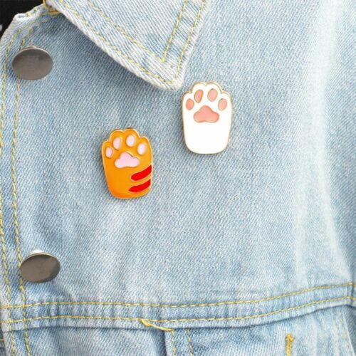 Cartoon Cat Paw Shape Enamel Brooch Pin Collar Badge Fashion Jewelry Kids Gift