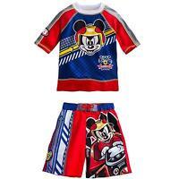 Disney Store Mickey Mouse Rash Guard And Swim Trunks Set Boy Size 3 4
