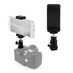 Phone-Clip-Holder-Ball-Head-Hot-Shoe-Mount-Adapter-for-Nikon-Canon-Camera