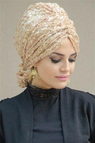 TT4555 Pailetten Fertig Kopftuch Abiye Hazir Türban Sal Tesettür Hijab Khimar