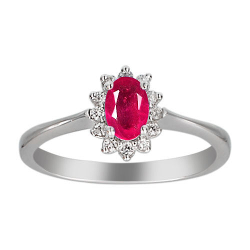 14KT White gold Natural African Red Ruby 2.00Ct EGL Certified Diamond Ring