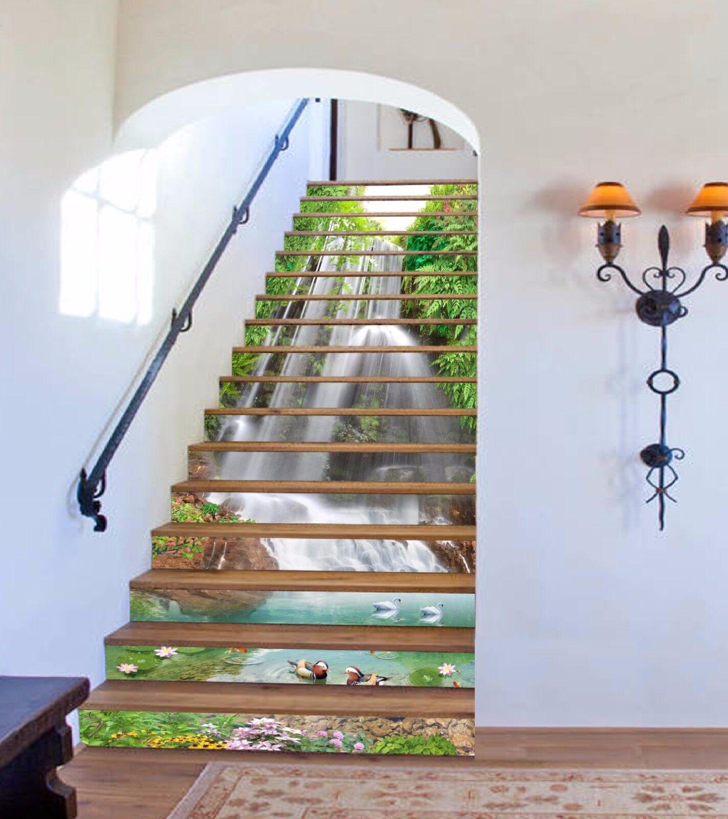 3D Falls Pond 976 Stair Risers Decoration Photo Mural Vinyl Decal Wallpaper AU