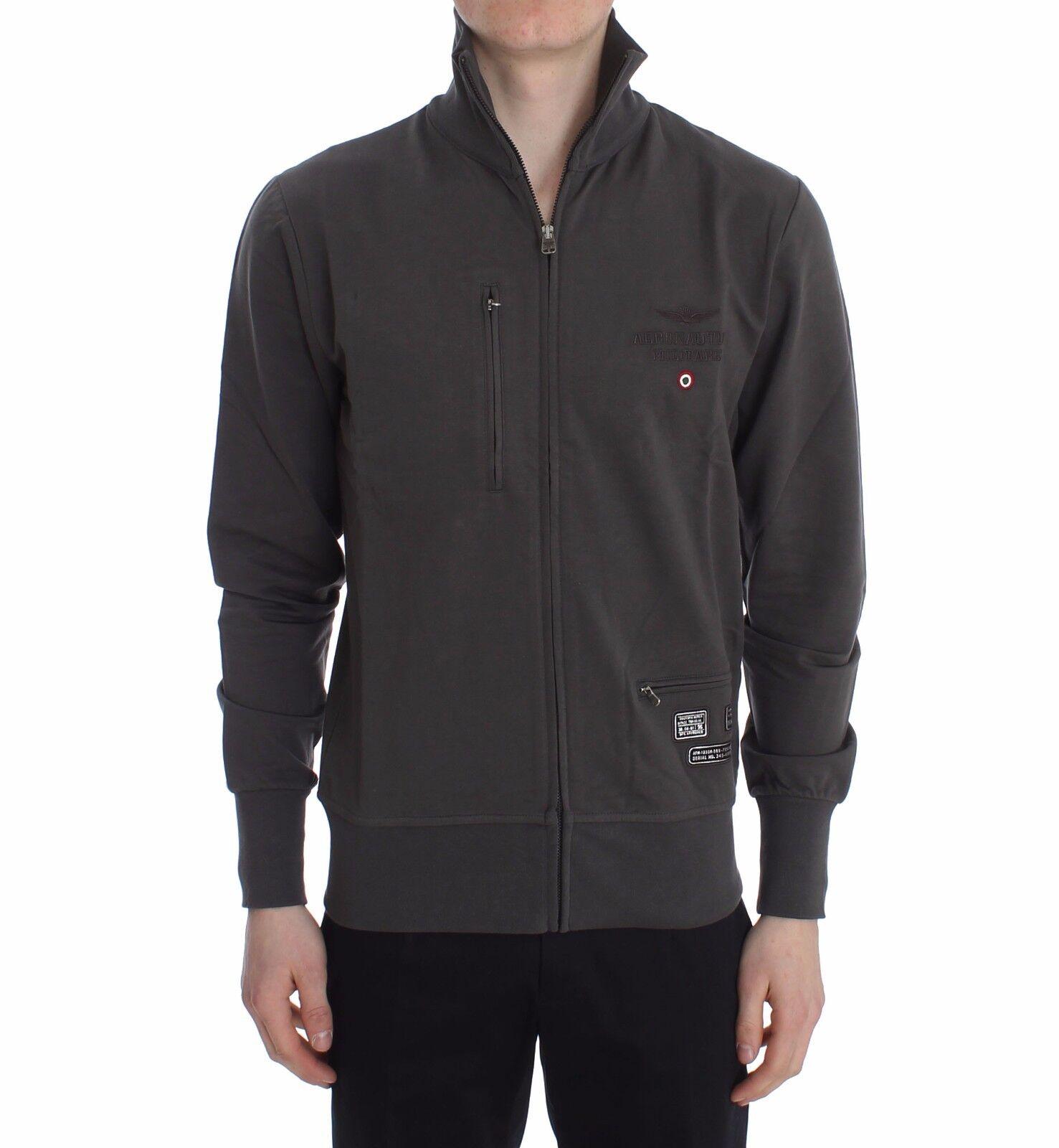NEW AERONAUTICA MILITARE Sweater grau Cotton Stretch Full Zipper  Herren Top s. S