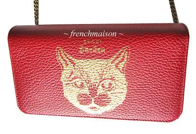 7adfaf3baf8a85 AUTH GUCCI Garden Gold Red Leather CAT HANDBAG Florence Gift New + Bag +  Box | eBay