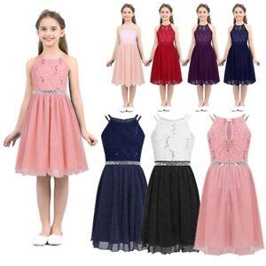 Details about Flower Girl Dress Princess Pageant Wedding Birthday Kid Halter NeckSequin Gown
