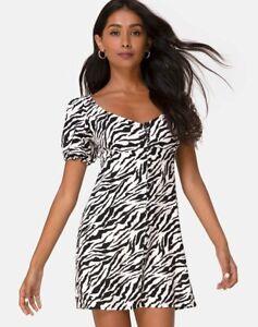 MOTEL-ROCKS-Montero-Mini-Dress-in-90-039-s-Zebra-Small-S-mr40