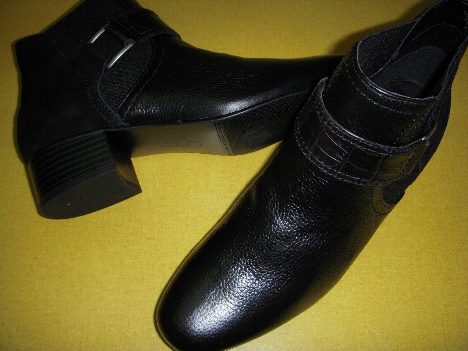 LOGO Lori Goldstein Sharon Leather Ankle Boots w/Strap Womens 7.5 M Black 7.5M ~