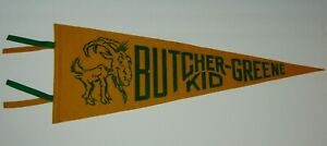 24-034-Old-Vintage-1950s-BUTCHER-GREENE-SCHOOL-GRANDVIEW-MISSOURI-MO-MASCOT-PENNANT