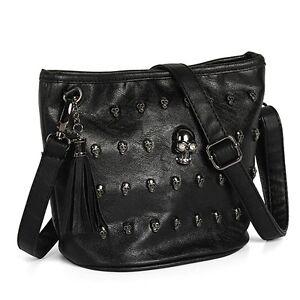 New Women leather Skull Studs Punk Goth Tassels Messenger Shoulder Handbag Bag