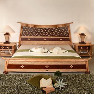 Details Zu Bettrahmen 160x200 Shanghai Designer Doppelbett Bett Rattan Exklusiv Holz Bambus