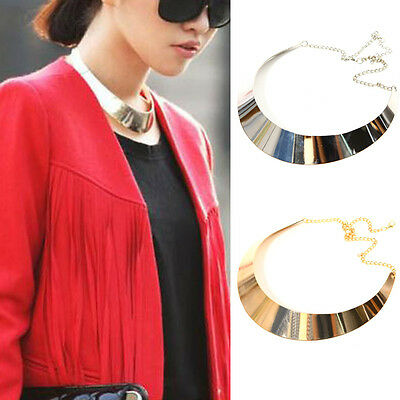 Punk Metallic Curved Mirror Wide Choker Collar Mottle Necklace New Gold Silver