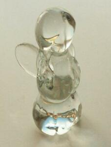 """Vintage Crystal Glass Art Christmas Angel Clear Paperweight 4.5"""""""
