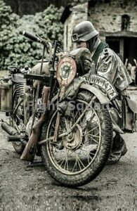 WW2-Picture-Photo-German-military-police-soldier-with-BMW-motorcycle-3241