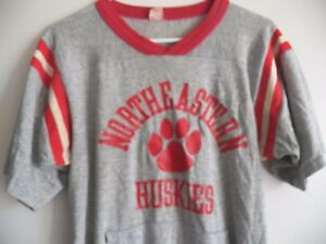 the latest dc9f3 eb9bd Details about Vintage 1970s NORTHEASTERN HUSKIES University college soft  thin Jersey shirt M