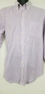 a5cf3ed3d56 Details about Peter Millar Men s Purple Checked Button Front Long Sleeve  Shirt Size Medium