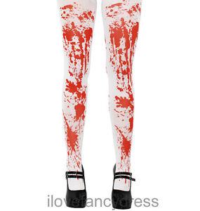 Femmes Halloween Blanc Tâches de Sang Collant Zombie Costume Déguisement