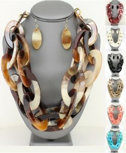 Statement-Tortoise-Layered-Double-Row-Link-Chain-Oval-Ring-Hoop-Resin-Necklace