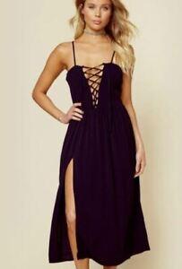 New Flynn Skye Mara Midi Dress Womens M Black Side Slit Lace Up