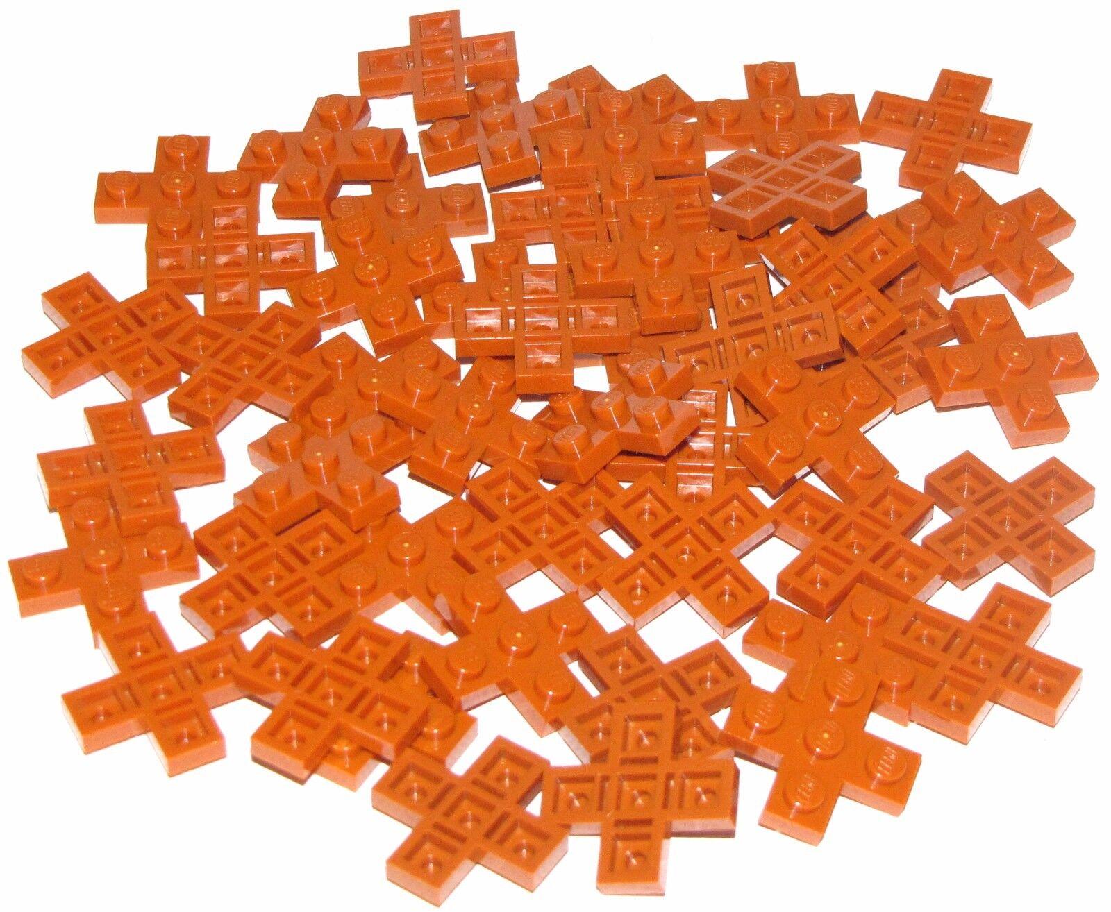Lego Lot Of 50 Nuevo orange Oscuro Placas 3 X 3 Cruzada Piezas