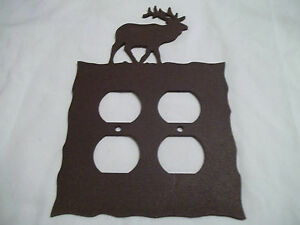 Elk-Rustic-Heavy-Metal-Brown-Double-Outlet-Cover-Decoration-Lodge-Cabin