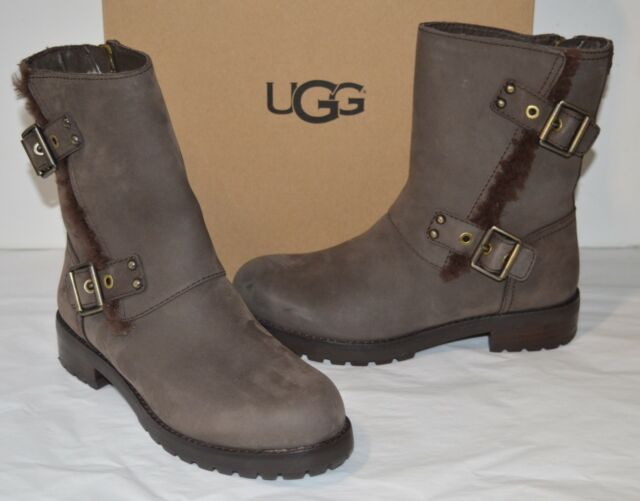 b1a27267c13 UGG Niels 1018607 Stout Leather Water Resistant Moto BOOTS Womens US 6.5